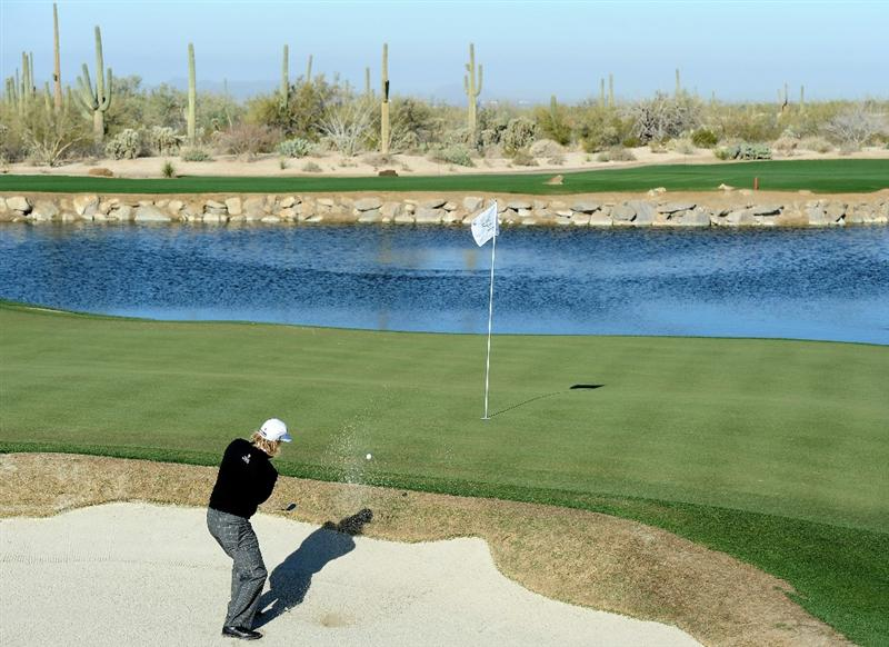 MARANA, AZ - FEBRUARY 23:  Charley Hoffman plays from a greenside bunker on the third hole during the first round of the Accenture Match Play Championship at the Ritz-Carlton Golf Club on February 23, 2011 in Marana, Arizona.  (Photo by Stuart Franklin/Getty Images)