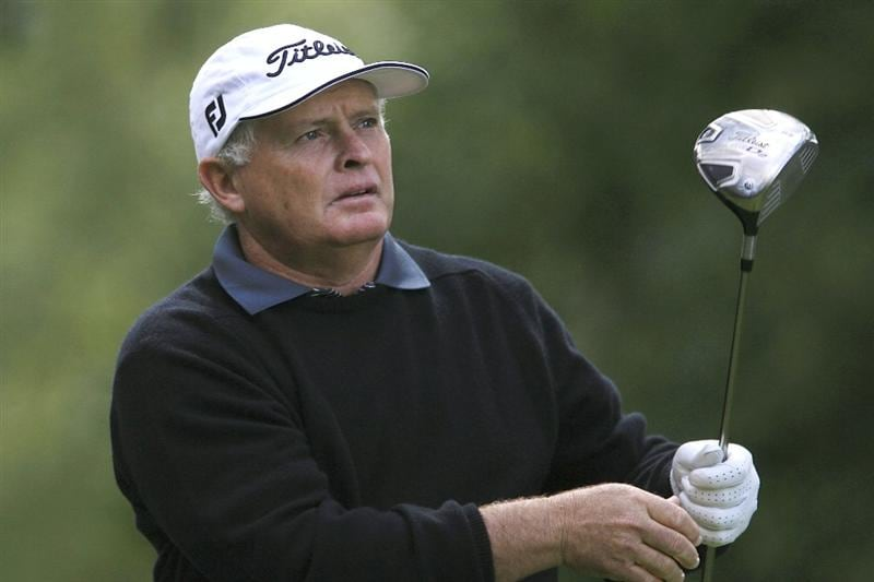 WOBURN, ENGLAND - SEPTEMBER 05:  Peter Senior of Australia in action during the second round of the Travis Perkins plc Senior Masters played at the Duke's Course, Woburn Golf Club on September 5, 2009 in Woburn, United Kingdom  (Photo by Phil Inglis/Getty Images)