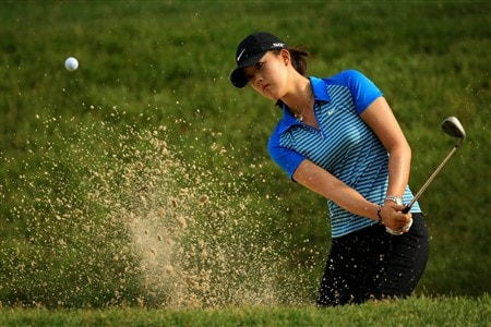 EDINA, MN - JUNE 25:  Michelle Wie hits from a bunker during a practice round prior to the 2008 U.S. Women's Open at Interlachen Country Club on June 25, 2008 in Edina, Minnesota.  (Photo by Travis Lindquist/Getty Images)