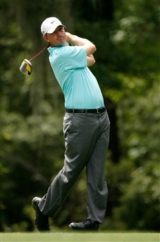HILTON HEAD, SC - APRIL 19:  Lucas Glover watches his tee shot on the fifth hole during the third round of the Verizon Heritage at Harbour Town Golf Links April 19, 2008 in Hilton Head, South Carolina.  (Photo by Streeter Lecka/Getty Images)