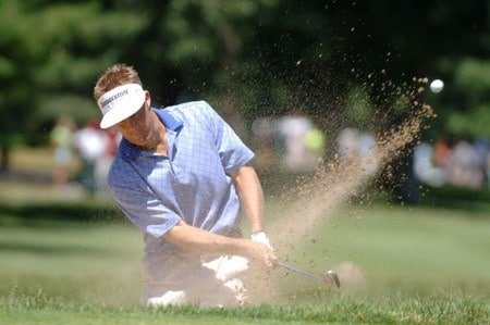 Sturat Appleby blasts from the sand near the ninth  green during the third round of the Cialis Western Open July 2, 2005 in Lemont, Illinois.Photo by Al Messerschmidt/WireImage.com