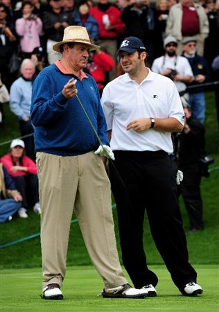 PEBBLE BEACH, CA - FEBRUARY 10:  Chris Berman and Tony Romo talk during the celebrity shootout at the the AT&T Pebble Beach National Pro-Am on February 10, 2010 in Pebble Beach, California.  (Photo by Stuart Franklin/Getty Images)