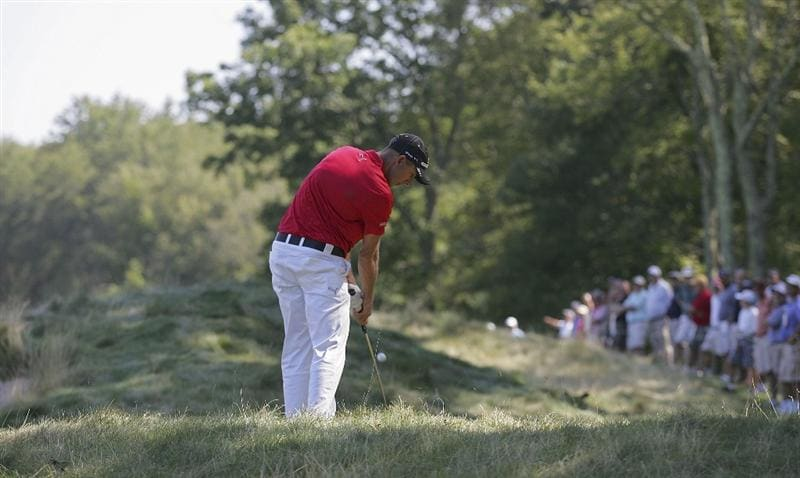 NORTON, MA - SEPTEMBER 04:  Geoff Ogilvy of Australia plays a shot from the rough during the first round of the Deutsche Bank Championship at TPC Boston held on September 4, 2009 in Norton, Massachusetts.  (Photo by Michael Cohen/Getty Images)
