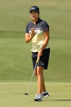 Hee-Won Han acknowledges cheers from the gallery after a birdie on the 13th green during the second round of the 2005 Office Depot Championship at Trump National Golf Club Los Angeles in Rancho Palos Verdes, California October 1, 2005.Photo by Steve Grayson/WireImage.com