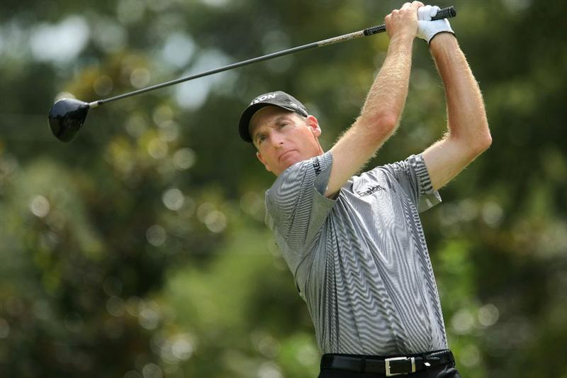 ATLANTA - SEPTEMBER 26:  Jim Furyk plays his tee shot on the eighth hole during the second round of THE TOUR Championship presented by Coca-Cola, at East Lake Golf Club on September 26, 2008 in Atlanta, Georgia. This is the final event of the PGA TOUR Playoffs for the FedExCup.  (Photo by Scott Halleran/Getty Images)