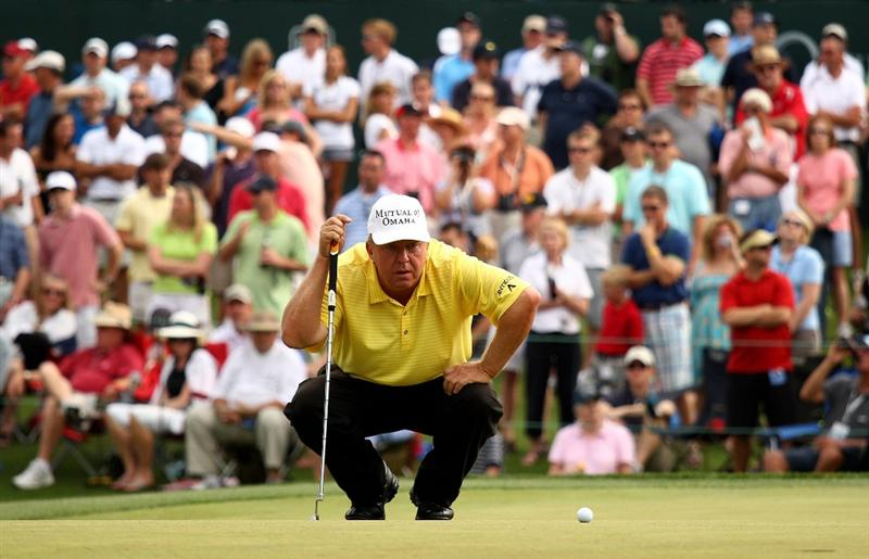 CHARLOTTE, NC - MAY 01:  Billy Mayfair lines up a putt on the 18th green during the third round of the Quail Hollow Championship at Quail Hollow Country Club on May 1, 2010 in Charlotte, North Carolina.  (Photo by Richard Heathcote/Getty Images)