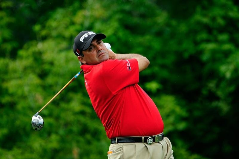 CHASKA, MN - AUGUST 13:  Angel Cabrera of Argentina watches his tee shot on the tenth hole during the first round of the 91st PGA Championship at Hazeltine National Golf Club on August 13, 2009 in Chaska, Minnesota.  (Photo by Sam Greenwood/Getty Images)