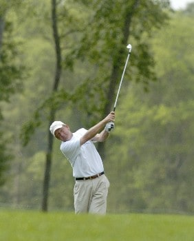 Mark Brooks hits his second shot on the 15th hole during the second  round of the Shell Houston Open, Friday, April 22, 2005 at the Redstone Golf Club, Humbele, TexasPhoto by Marc Feldman/WireImage.com