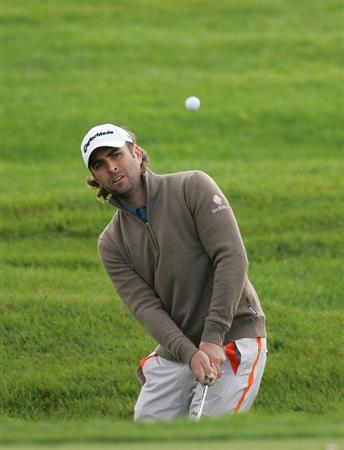 VERNON, NY - OCTOBER 02:  Matthew Goggin of Australia plays a shot during the first round of the Turning Stone Resort Championship at Atunyote Golf Club held on October 2, 2008 in Vernon, New York.  (Photo by Michael Cohen/Getty Images)