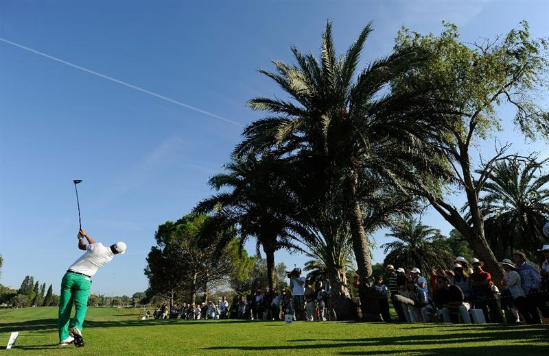 CASTELLON DE LA PLANA, SPAIN - OCTOBER 24:  Matteo Manassero of Italy plays his tee shot on the 17th hole during the final round of the Castello Masters Costa Azahar at the Club de Campo del Mediterraneo on October 24, 2010 in Castellon de la Plana, Spain.  (Photo by Stuart Franklin/Getty Images)