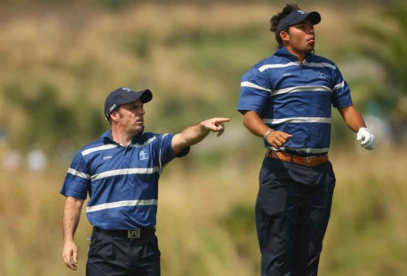 BANGKOK, THAILAND - JANUARY 09: Paul McGinley of Ireland and Pablo Larrazabal of Spain look down the 6th hole during the foursomes on Day one of The Royal Trophy at the Amata Spring Country Club on January 9, 2009 in Bangkok, Thailand.  (Photo by Ian Walton/Getty Images)