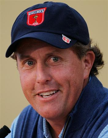 NEWPORT, WALES - SEPTEMBER 29:  Phil Mickelson of the USA answers questions from the media at a press conference during a practice round prior to the 2010 Ryder Cup at the Celtic Manor Resort on September 29, 2010 in Newport, Wales.  (Photo by Sam Greenwood/Getty Images)