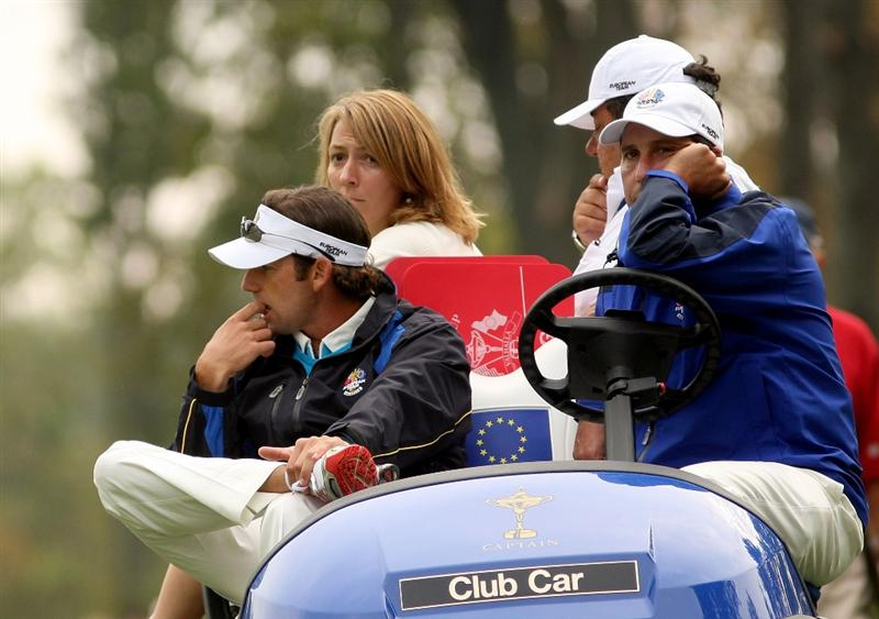 LOUISVILLE, KY - SEPTEMBER 20:  Sergio Garcia of the European team waits with assistant captain Jose Maria Olazabal during the morning foursome matches on day two of the 2008 Ryder Cup at Valhalla Golf Club on September 20, 2008 in Louisville, Kentucky.  (Photo by Ross Kinnaird/Getty Images)