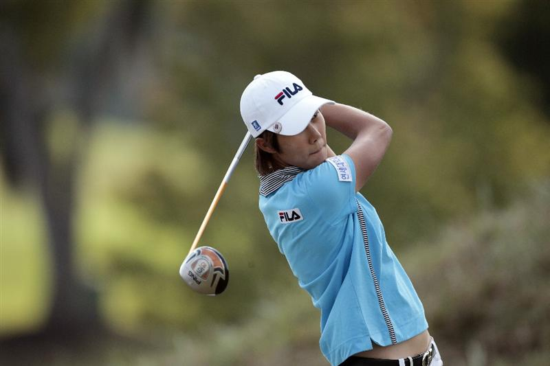 PRATTVILLE, AL - SEPTEMBER 28:   Song-Hee Kim watches her drive from the tenth tee during final round play in the Navistar LPGA Classic at the Robert Trent Jones Golf Trail at Capitol Hill on September 28, 2008 in Prattville, Alabama.  (Photo by Dave Martin/Getty Images)