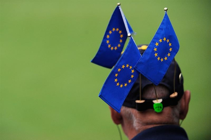 LOUISVILLE, KY - SEPTEMBER 20:  A European team supporter watches the play during the morning foursome matches on day two of the 2008 Ryder Cup at Valhalla Golf Club on September 20, 2008 in Louisville, Kentucky.  (Photo by Sam Greenwood/Getty Images)
