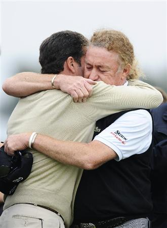 BARCELONA, SPAIN - MAY 07:  Spanish golf players Jose Maria Olazabal of Spain (L) and Miguel Angel Jimenez (R) after the minute's silence held in memory of Seve Ballesteross during the third round of the Open de Espana at the the Real Club de Golf El Prat on May 7 , 2011 in Barcelona, Spain.  (Photo by David Ramos/Getty Images)