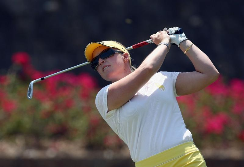 MORELIA, MEXICO- APRIL 25: Morgan Pressel tees off the 6th hole during the thrid round of the Corona Championship at the Tres Marias Residential Golf Club on April 25, 2009 in Morelia, Michoacan, Mexico. (Photo by Donald Miralle/Getty Images)