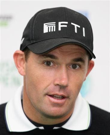 BALTRAY, IRELAND - MAY 13:  Padraig Harrington of Ireland at his press conference during the Pro-Am prior to the start of The 3 Irish Open at County Louth Golf Club on May 13, 2009 in Baltray, Ireland.  (Photo by Ross Kinnaird/Getty Images)