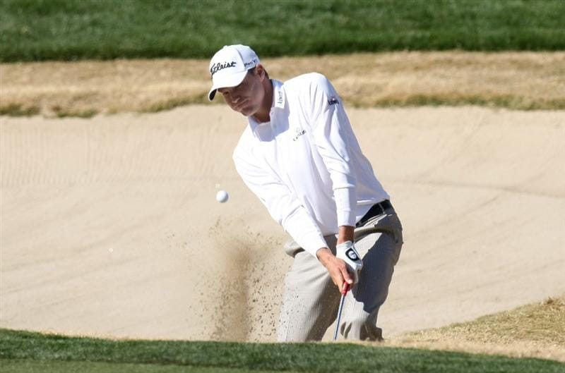 SCOTTSDALE, AZ - JANUARY 30: Nick Watney hits out of a bunker on the sixth hole during the second round of the FBR Open on January 30, 2009 at TPC Scottsdale in Scottsdale, Arizona. (Photo by Stephen Dunn/Getty Images)