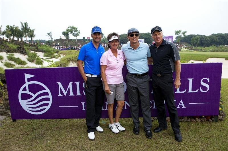 HAIKOU, CHINA - OCTOBER 31:  Hong Kong actor Michael Wong, golfer Rosie Jones of USA, Actor Mathew McConaughey and golfer Greg Norman of Australia pose for the photographer during day five of the Mission Hills Start Trophy tournament at Mission Hills Resort on October 31, 2010 in Haikou, China. The Mission Hills Star Trophy is Asia's leading leisure liflestyle event which features Hollywood celebrities and international golf stars.  (Photo by Athit Perawongmetha/Getty Images for Mission Hills)