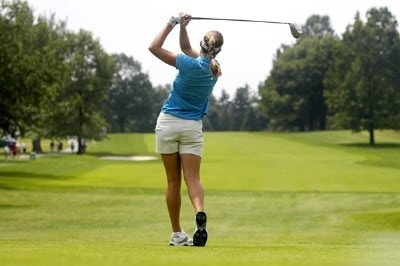 Brittany Lang tees off on the eighth hole during the first round of the Wegmans LPGA in Rochester, New York, Thursday, June 22, 2006.Photo by Kevin Rivoli/WireImage.com