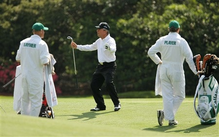 AUGUSTA, GA - APRIL 09:  Gary Player of South Africa reacts to a shot on the 11th hole during the third day of practice prior to the start of the 2008 Masters Tournament at Augusta National Golf Club on April 9, 2008 in Augusta, Georgia.  (Photo by Harry How/Getty Images)