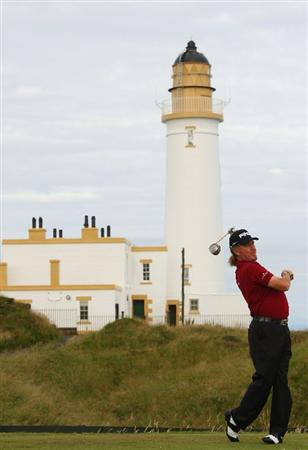 TURNBERRY, SCOTLAND - JULY 15:  Miguel Angel Jimenez of Spain tees off on the 10th hole during a practice round prior to the 138th Open Championship on the Ailsa Course, Turnberry Golf Club on July 15, 2009 in Turnberry, Scotland.  (Photo by Andrew Redington/Getty Images)