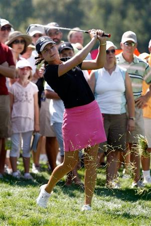 DANVILLE, CA - SEPTEMBER 27:  Lorena Ochoa of Mexico hits her 3rd shot on the 8th hole during the final round of the CVS/pharmacy LPGA Challenge at Blackhawk Country Club on September 27, 2009 in Danville, California.  (Photo by Jonathan Ferrey/Getty Images)