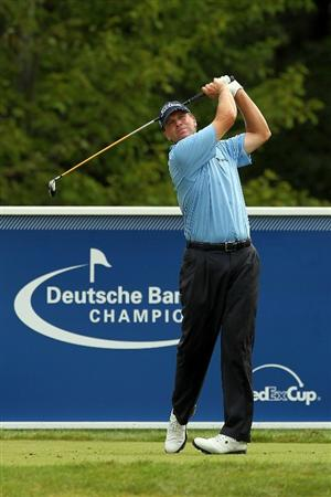NORTON, MA - SEPTEMBER 03:  Steve Stricker tees off on the 17th hole in the first round of the Deutsche Bank Championship at TPC Boston on September 3, 2010 in Norton, Massachusetts.  (Photo by Mike Ehrmann/Getty Images)