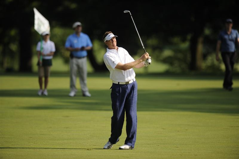 BETHESDA, MD - JULY 02:  Tim Petrovic hits his second shot on the 16th hole during the first round of the AT&T National at the Congressional Country Club on July 2, 2009 in Bethesda, Maryland  (Photo by Mitchell Layton/Getty Images)