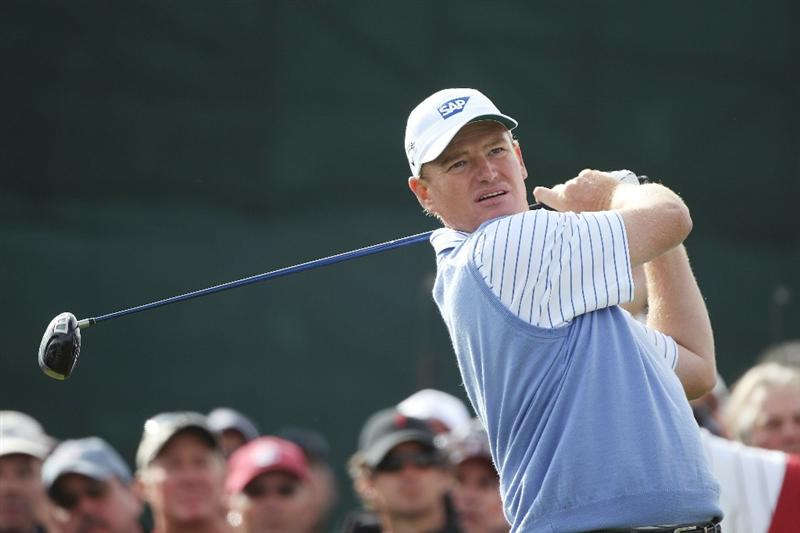 PEBBLE BEACH, CA - JUNE 19:  Ernie Els of South Africa hits his tee shot on the fifth hole during the third round of the 110th U.S. Open at Pebble Beach Golf Links on June 19, 2010 in Pebble Beach, California.  (Photo by Donald Miralle/Getty Images)