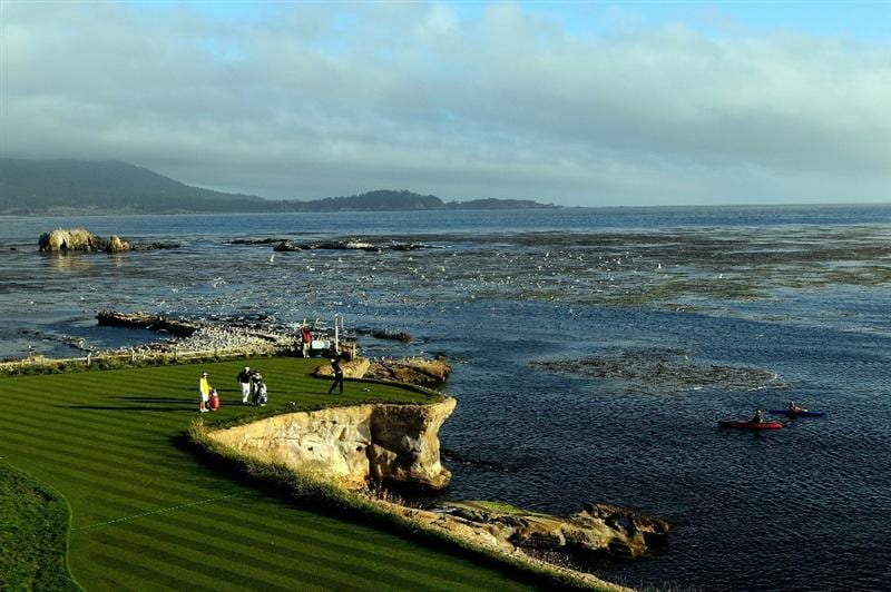 PEBBLE BEACH, CA - JUNE 19:  Ian Poulter of England hits his tee shot on the 18th hole during the third round of the 110th U.S. Open at Pebble Beach Golf Links on June 19, 2010 in Pebble Beach, California.  (Photo by Harry How/Getty Images)