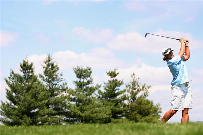 SPRINGFIELD, IL - JUNE 04:  Katherine Hull of Australia hits a tee shot on the 17th hole during the first round of the LPGA State Farm Classic golf tournament at Panther Creek Country Club on June 4, 2009 in Springfield, Illinois.  (Photo by Christian Petersen/Getty Images)