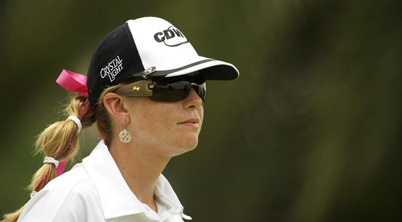 SINGAPORE - MARCH 07:  Paula Creamer of the USA waits on the par five 15th hole during the third round of HSBC Women's Champions at the Tanah Merah Country Club on March 7, 2009 in Singapore.  (Photo by Victor Fraile/Getty Images)