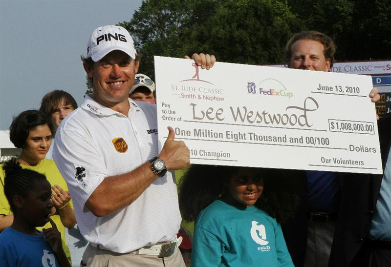 MEMPHIS, TN - JUNE 13: Lee Westwood of England celebrates winning the St. Jude Classic at TPC Southwind held on June 13, 2010 in Memphis, Tennessee.  (Photo by John Sommers II/Getty Images)