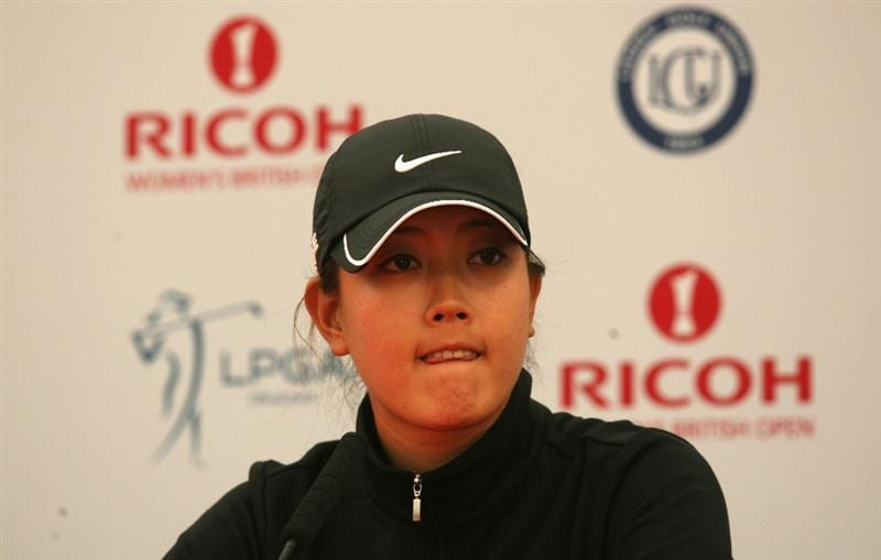 LYTHAM ST ANNES, ENGLAND - JULY 29:  Michelle Wie of the USA addresses a press conference during practice prior to the 2009 Ricoh Women's British Open Championship held at Royal Lytham St Annes Golf Club, on July 29, 2009 in Lytham St Annes, England.  (Photo by Warren Little/Getty Images)