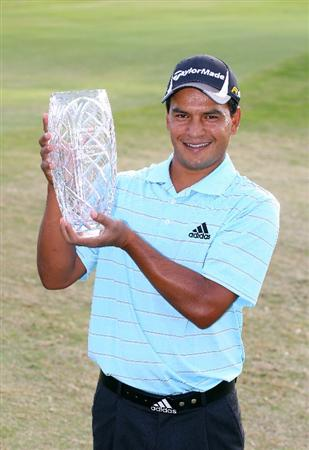 BROUSSARD, LA - MARCH 28: Fabian Gomez of Argentina holds the championship trophy after winning the Chitimacha Louisiana Open at Le Triomphe Country Club on March 28, 2010 in Broussard, Louisiana. (Photo by Hunter Martin/Getty Images)