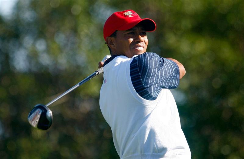 SAN FRANCISCO - OCTOBER 09:  Tiger Woods of the USA Team watches his tee shot on the 13th hole during the Day Two Fourball Matches of The Presidents Cup at Harding Park Golf Course on October 9, 2009 in San Francisco, California.  (Photo by Scott Halleran/Getty Images)