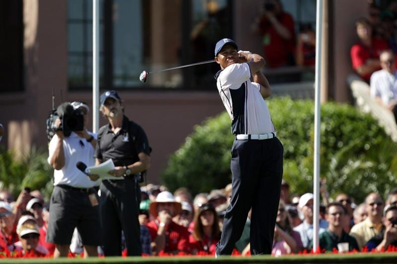 ORLANDO, FL - MARCH 14:  Tiger Woods of the USA and the Albany Club tees off at the 1st hole during the first day of the 2011 Tavistock Cup at Isleworth Golf Club on March 14, 2011 in Orlando, Florida.  (Photo by David Cannon/Getty Images)