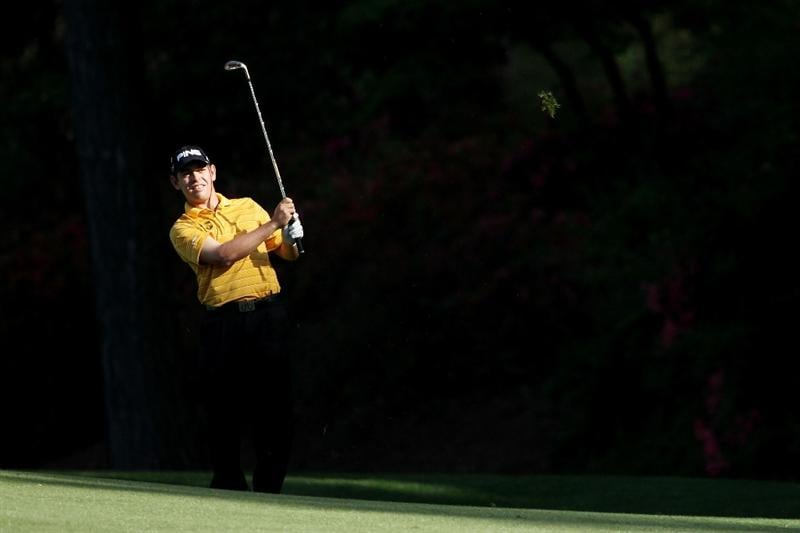 AUGUSTA, GA - APRIL 07:  Louis Oosthuizen of South Africa hits an approach shot on the 13th hole during the first round of the 2011 Masters Tournament at Augusta National Golf Club on April 7, 2011 in Augusta, Georgia.  (Photo by Andrew Redington/Getty Images)