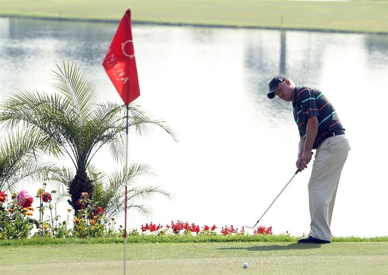 NEW DELHI, INDIA - FEBRUARY 14:  Richard Finch of England in action during the Final Round of the Avantha Masters held at The DLF Golf and Country Club on February 14, 2010 in New Delhi, India.  (Photo by Ian Walton/Getty Images)