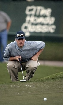 Brett Wetterich in action at the 18th hole during the third round of The Honda Classic, March 12,2005, held at The Country Club at Mirasol, Palm Beach Gardens, Fl.