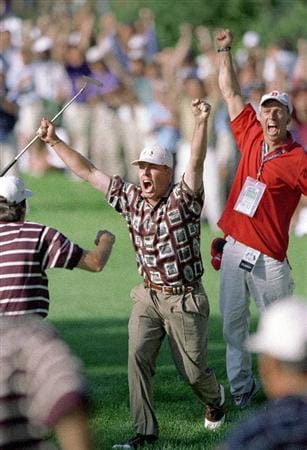 26 Sep 1999:  Justin Leonard of the USA celebrates after holing a crucial monster putt on the 17th during his final day singles match in the Ryder Cup at the Country Club in Brookline, Boston, Massachusetts, USA. Leonard halved his match to secure a 14.5to 13.5 victory over the Europeans. \ Mandatory Credit: Rusty Jarrett /Allsport