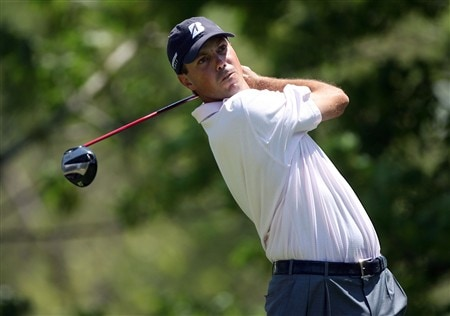 DUBLIN, OH - JUNE 01:  Matt Kuchar hits his tee shot on the 5th hole during the final round of The Memorial on June 1, 2008 at the Muirfield Village Golf Club in Dublin, Ohio.  (Photo by Andy Lyons/Getty Images)