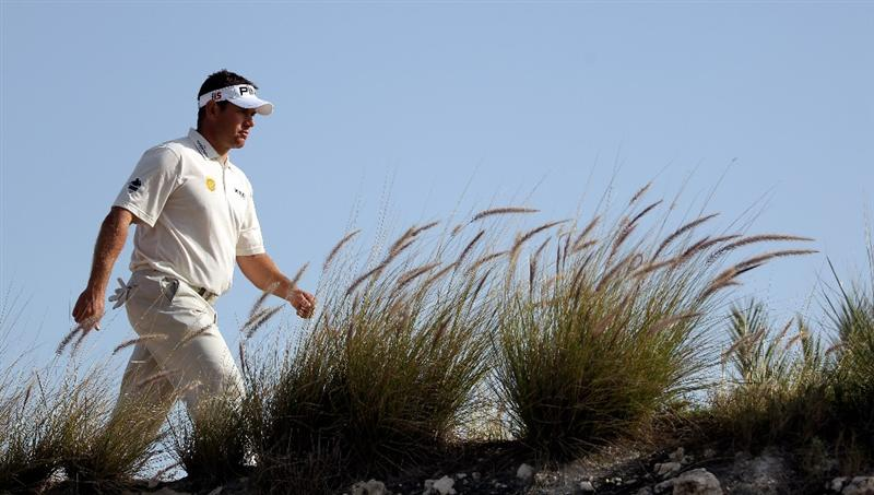 DOHA, QATAR - JANUARY 29:  Lee Westwood of England on the par four 16th tee during the second round of the Commercialbank Qatar Masters at the Doha Golf Club on January 29, 2010 in Doha, Qatar.  (Photo by Ross Kinnaird/Getty Images)