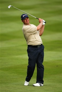 VIRGINIA WATER, UNITED KINGDOM - MAY 22:  Greig Hutcheon of Scotland during Day 1 of the BMW PGA Championship at Wentworth on May 22, 2008 in Virginia Water, England.  (Photo by Andrew Redington/Getty Images)