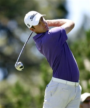 RENO, NV - AUGUST 3: Andrew Buckle of Australia hits off the first tee box  during the final round of the Legends Reno-Tahoe Open at the Montreux Golf & Country Club on August 3, 2008 in Reno, Nevada. (Photo by Max Morse/Getty Images)