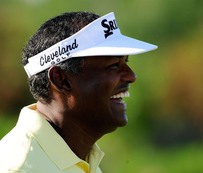 PONTE VEDRA BEACH, FL - MAY 03:  Vijay Singh of Fiji laughs during a practice round for THE PLAYERS at TPC Sawgrass on May 3, 2010 in Ponte Vedra Beach, Florida.  (Photo by Sam Greenwood/Getty Images)