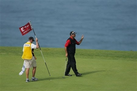 SAN DIEGO - JUNE 16:  Rocco Mediate celebrates birdie on the third hole during the playoff round of the 108th U.S. Open at the Torrey Pines Golf Course (South Course) on June 16, 2008 in San Diego, California.  (Photo by Doug Pensinger/Getty Images)