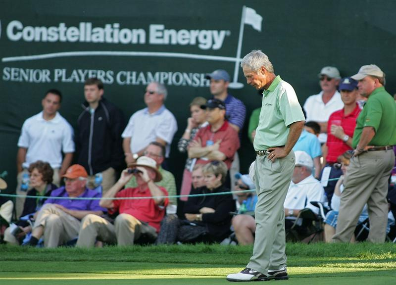 TIMONIUM, MD - OCTOBER 12: Ben Crenshaw stands by after making bogey on the 18th hole during the final round of the Constellation Energy Senior Players Championship at Baltimore Country Club East Course held on October 12, 2008 in Timonium, Maryland (Photo by Michael Cohen/Getty Images)